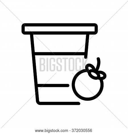 Mangosteen Fruit Drink Cup Icon Vector. Mangosteen Fruit Drink Cup Sign. Isolated Contour Symbol Ill