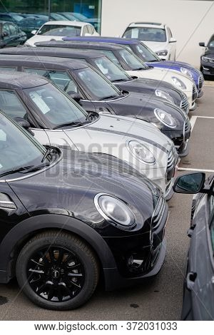 Bordeaux , Aquitaine / France - 10 27 2019 : Mini Car Are Parked Dealership Shop Outside In Mini Coo