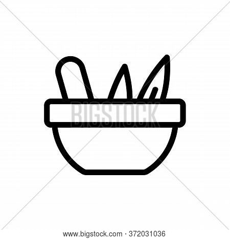 Eucalyptus In Bowl For Icon Vector. Eucalyptus In Bowl For Sign. Isolated Contour Symbol Illustratio