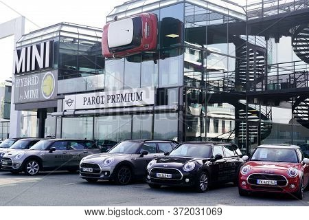 Bordeaux , Aquitaine / France - 10 28 2019 : Mini Cars Display Outside Dealership Outdoors With Coop