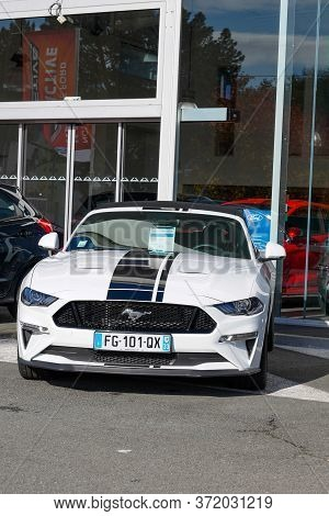 Bordeaux , Aquitaine / France - 11 13 2019 : Ford Mustang Convertible Car In Front Of Automobile Mot
