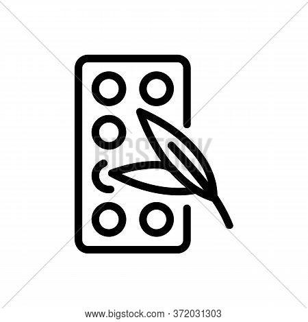 Eucalyptus Medicine Pills Icon Vector. Eucalyptus Medicine Pills Sign. Isolated Contour Symbol Illus
