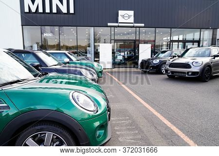 Bordeaux , Aquitaine / France -  01 15 2020 : Mini Logo Automobiles Parked At Mini Cooper Car Dealer