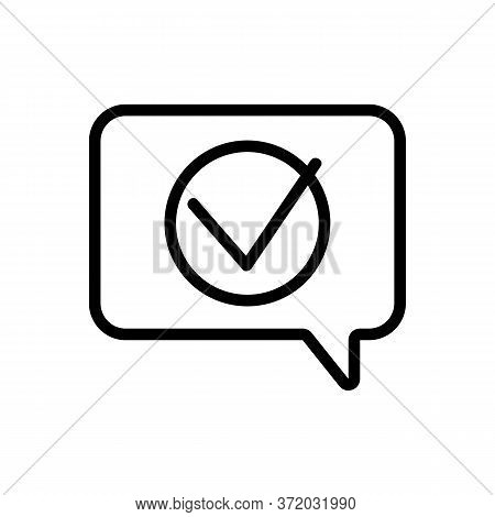 Accept Mark In Quote Frame Icon Vector. Accept Mark In Quote Frame Sign. Isolated Contour Symbol Ill