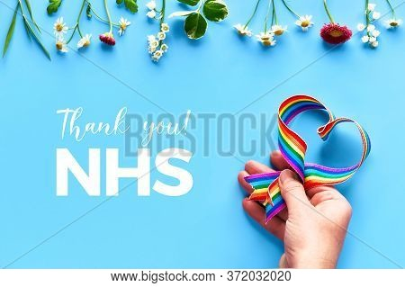 Thank You Nhs, Doctors, Nurses, Medical Teams And Key Workers, England And Uk Hand Holding Rainbow R