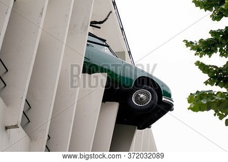 Bordeaux , Aquitaine / France - 06 10 2020 : Victor Hugo Car Park In Bordeaux With Jaguar Car Accide