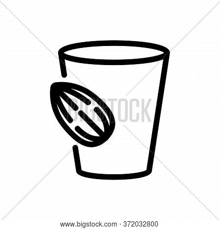 Almond Beverage Cup Icon Vector. Almond Beverage Cup Sign. Isolated Contour Symbol Illustration