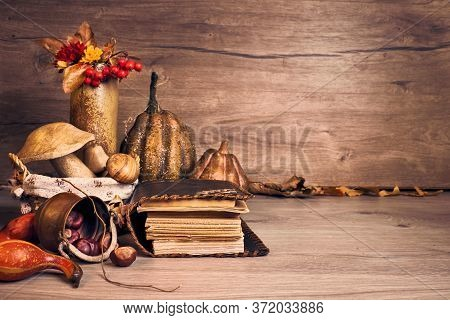 Autumn Thanksgiving Arrangement With Wooden Mushrooms, Decorative Pumpkins, Fall Leaves, Apples, Pep