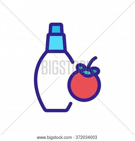 Mangosteen Perfume Bottle Icon Vector. Mangosteen Perfume Bottle Sign. Color Symbol Illustration