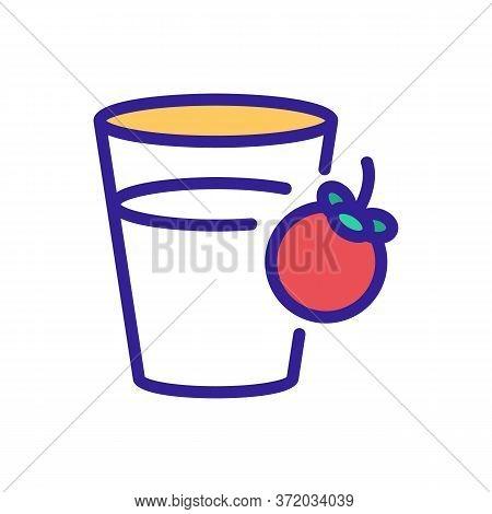 Mangosteen Refresh Drink Cup Icon Vector. Mangosteen Refresh Drink Cup Sign. Color Symbol Illustrati