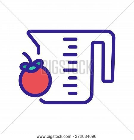 Mangosteen Fruit And Measuring Cup Icon Vector. Mangosteen Fruit And Measuring Cup Sign. Color Symbo