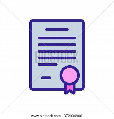 Dog Training Certificate Diploma Icon Vector. Dog Training Certificate Diploma Sign. Color Symbol Il