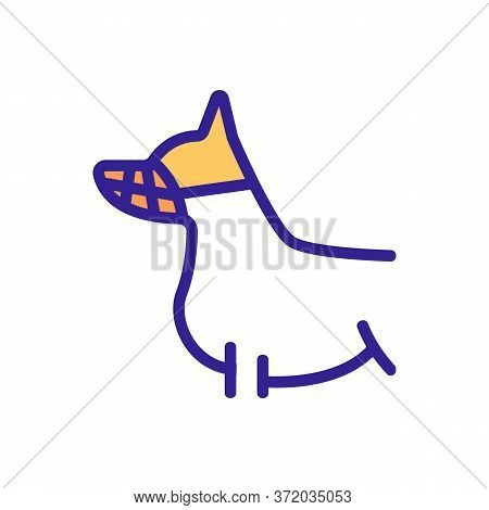 Dog In Muzzle Icon Vector. Dog In Muzzle Sign. Color Symbol Illustration