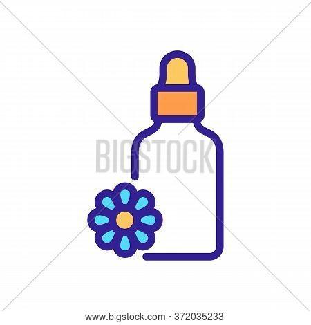 Chamomile Elixir Bottle Icon Vector. Chamomile Elixir Bottle Sign. Color Symbol Illustration