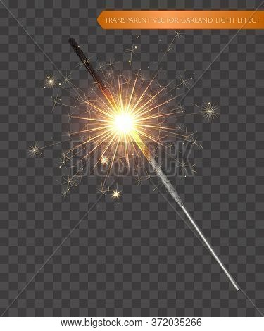 Christmas Realistic Bengal Light Effect. Isolated Sparkler Light Vector Design Elements. Transparent