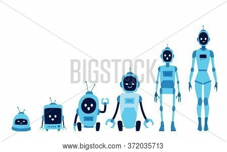 Robot Growth Evolution Set - Steps Of Technology Development From Small Electronic Device To Humanoi