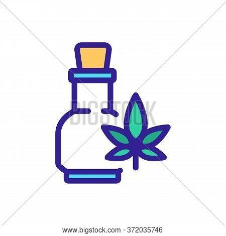 Cannabis Elixir In Glass Bottle Icon Vector. Cannabis Elixir In Glass Bottle Sign. Color Symbol Illu