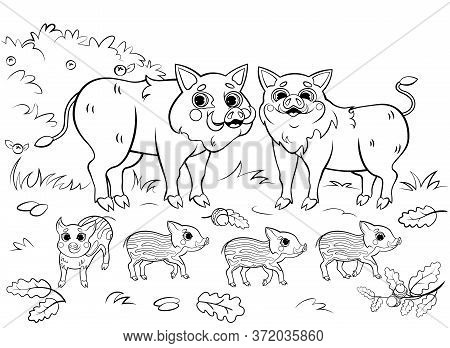 Cute Cartoon Boar Or Hog Family Vector Coloring Page Outline. Vector Image With Nature Background. P