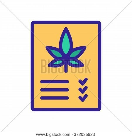 Medicine Receipt For Smoke Cannabis Icon Vector. Medicine Receipt For Smoke Cannabis Sign. Color Sym