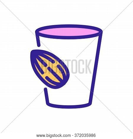 Almond Beverage Cup Icon Vector. Almond Beverage Cup Sign. Color Symbol Illustration