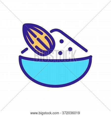 Almond Ingredient For Porridge Icon Vector. Almond Ingredient For Porridge Sign. Color Symbol Illust