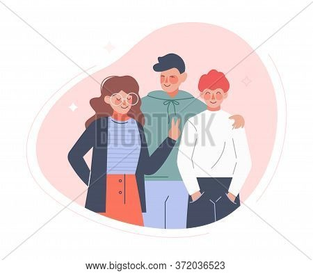 Group Of Teenage Boys And Girl Or School Friends Standing Together, Friendship Concept Flat Style Ve