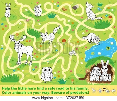 Help The Little Hare Find A Safe Road To His Family. Color Animals On Your Way. Beware Of Predators!