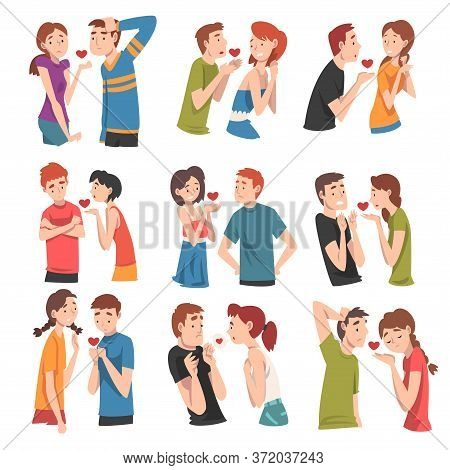 Modern Young People Reject Each Others Love. Undivided Love. Set Of Vector Illustrations.