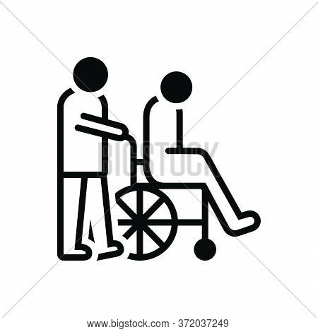 Black Solid Icon For Caregivers Caretaker Disability Wheelchair Nurses