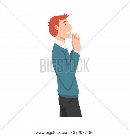 Young Man With Red Hair Refuses Something. Vector Illustration.
