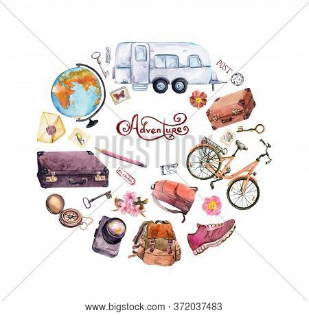 Sketch For Girly, Feminine Travel Card, Poster: Flowers, Globe, Compass, Bicycle, Suitcase, Backpack