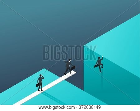 Business Risk And Professional Strategy Concept - Working Businessmen Team Jumpss Over Gap Using A S