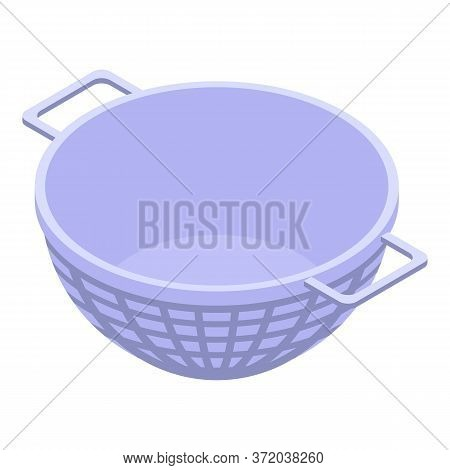Steel Sieve Icon. Isometric Of Steel Sieve Vector Icon For Web Design Isolated On White Background