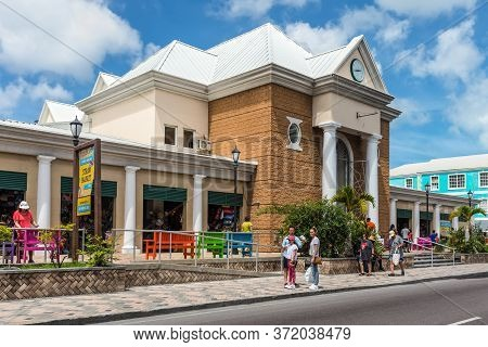 Nassau, Bahamas - May 3, 2019: Street View Of Nassau At Day With Pedestrians Near Tourist Shops In N