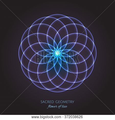 Blue Flower Of Life. Sacred Geometry. Symbol Of Harmony And Balance. Vector Illustration