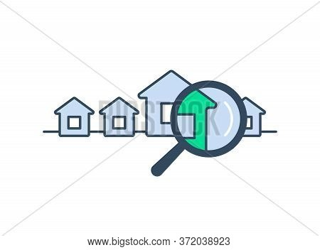 Property Search Icon For Real Estate Booking And Sale Service - Vector Isolated Logo Template With S
