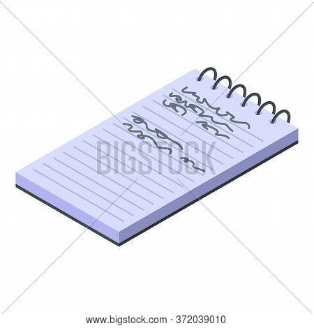 Foreign Language Notepad Icon. Isometric Of Foreign Language Notepad Vector Icon For Web Design Isol