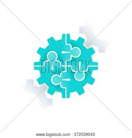 Human Resources (hr) Or Team Work (working Solutions) Logo Template - Circular Emblem With People, P