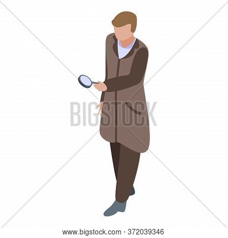 Investigator With Magnifier Icon. Isometric Of Investigator With Magnifier Vector Icon For Web Desig