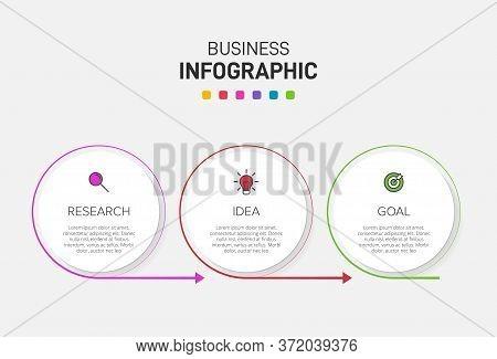 Concept Of Arrow Business Model With 3 Successive Steps. Three Colorful Design Elements. Timeline De