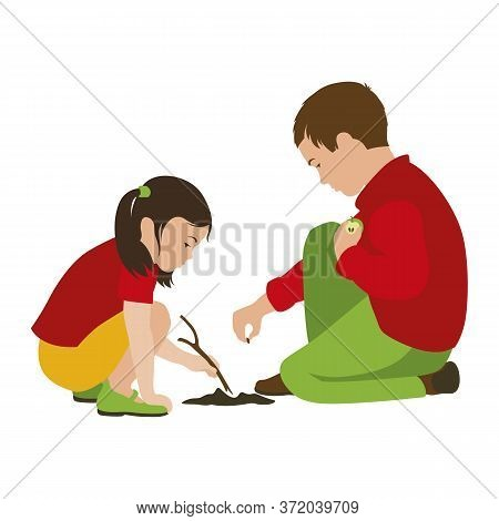Boy And Girl Planting An Apple Seed In The Ground. Friends. Isolated Vector Illustration On A White