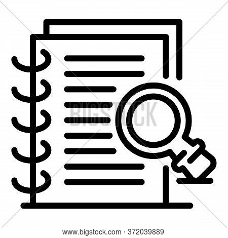 Notepad And Magnifier Icon. Outline Notepad And Magnifier Vector Icon For Web Design Isolated On Whi