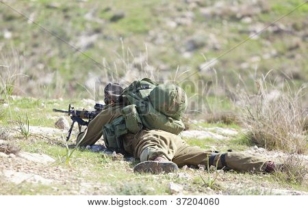 Israel Defense Forces - Paratroopers brigade during training poster