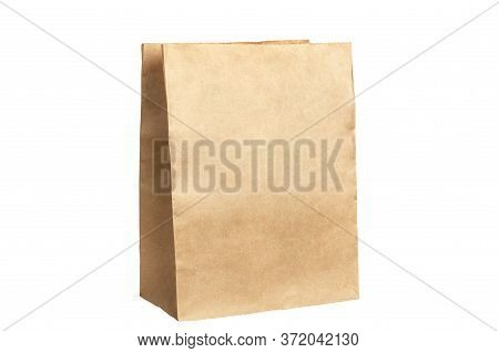 Unbranded Kraft Package. Place For Creative Design Or Text. Boxing For Contactless Product Delivery.