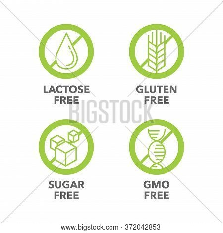 Sugar Free, Gluten Free, Lactose Free, Gmo Free - Vector Stamp For Food Products Composition On Pack