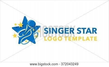 Singer Karaoke Tar Logo Template - Microphone Silhouette Inside Red Star - Emblem For For Leading, S