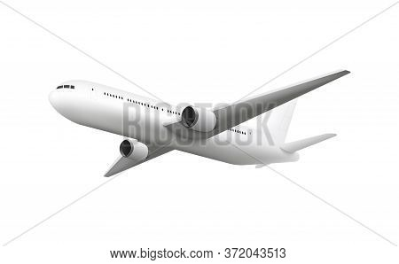 Realistic Airplane Flying Overhead, Jet Aircraft Mockup With Blank Fuselage