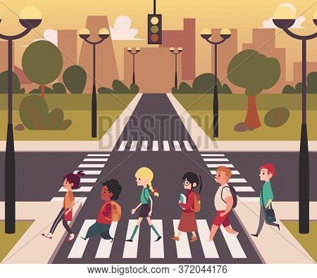 Urban City Street Pedestrian Crossing, Diverse Cartoon Character People Walking On On Empty Road Zeb