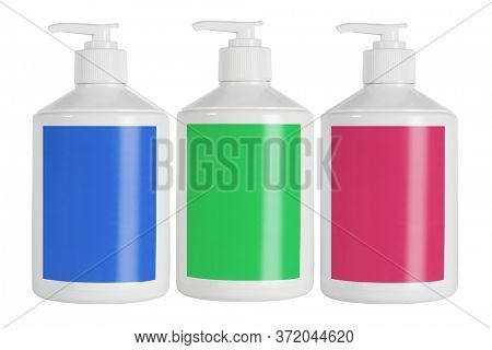 Plastic Containers For Cosmetic Product With Color Labels on White Background