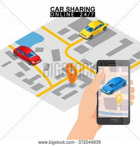 Car Sharing Isometric. Hand Hold Smartphone Screen With City Map Route And Points Location Blue Car.